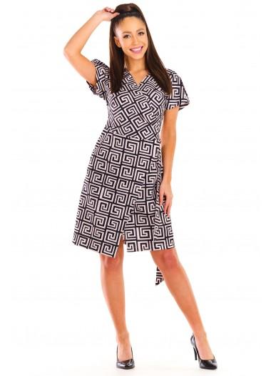Sukienka POLA brzoskwiniowo-czarna rozm. 38-52