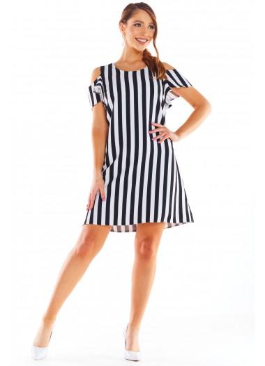Sukienka NICOLA biało-czarna rozm. 40-50